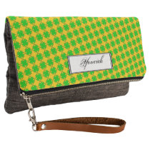 Lime Green Clover Ribbon by Kenneth Yoncich Clutch