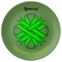 Lime Green Clover Ribbon by Kenneth Yoncich Dinner Plate