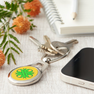 Lime Green Clover Ribbon by Kenneth Yoncich Keychain