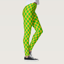 Lime Green Clover Ribbon by Kenneth Yoncich Leggings