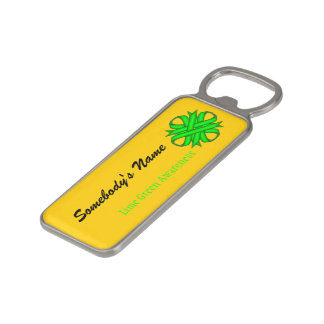 Lime Green Clover Ribbon by Kenneth Yoncich Magnetic Bottle Opener
