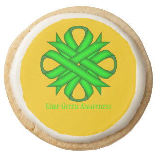 Lime Green Clover Ribbon by Kenneth Yoncich Round Shortbread Cookie