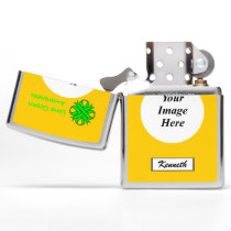 Lime Green Clover Ribbon by Kenneth Yoncich Zippo Lighter