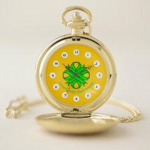 Lime Green Clover Ribbon (Cf) by K Yoncich Pocket Watch