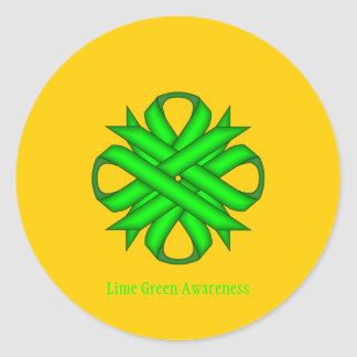Lime Green Clover Ribbon Classic Round Sticker