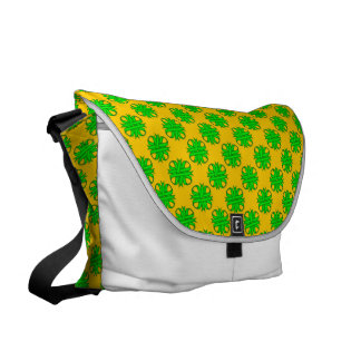 Lime Green Clover Ribbon Courier Bag