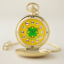 Lime Green Clover Ribbon (Kf) by K Yoncich Pocket Watch