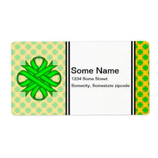 Lime Green Clover Ribbon Label