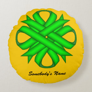 Lime Green Clover Ribbon Round Pillow