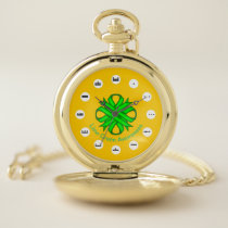 Lime Green Clover Ribbon (Mf) by K Yoncich Pocket Watch