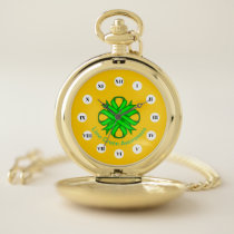 Lime Green Clover Ribbon (Rf) by K Yoncich Pocket Watch