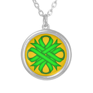Lime Green Clover Ribbon Round Pendant Necklace