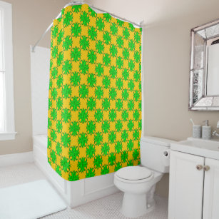Lime Green Clover Ribbon Shower Curtain