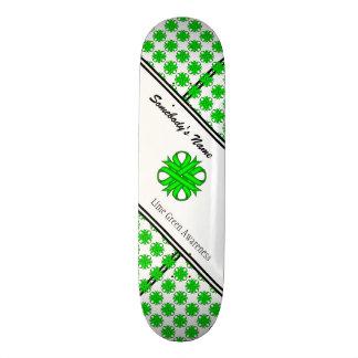 Lime Green Clover Ribbon Skateboard Deck