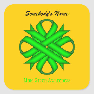Lime Green Clover Ribbon Square Sticker