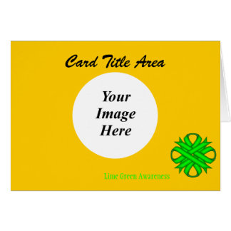 Lime Green Clover Ribbon Template Card