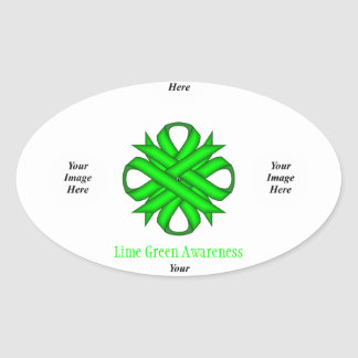 Lime Green Clover Ribbon Template Oval Sticker