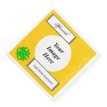 Lime Green Clover Ribbon Tmpl by Kenneth Yoncich Paper Dinner Napkin