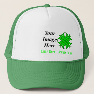 Lime Green Clover Ribbon Tmpl by Kenneth Yoncich Trucker Hat