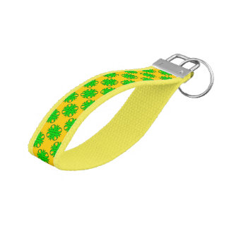 Lime Green Clover Ribbon Wrist Keychain