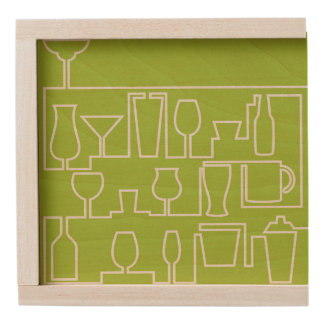 Lime green cocktail party wooden keepsake box