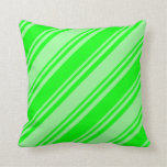 [ Thumbnail: Lime & Green Colored Lines Pattern Throw Pillow ]