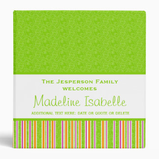 Lime Green Colorful Personalized New Baby Vinyl Binders