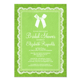 Lime Green Country Burlap Bridal Shower Invitation