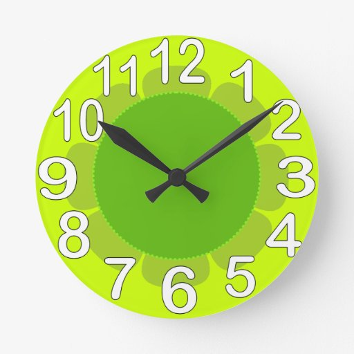 Lime green country kitchen round clock zazzle for Lime green kitchenware