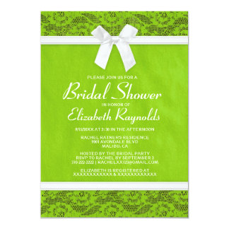 Lime Green Country Lace Bridal Shower Invitations