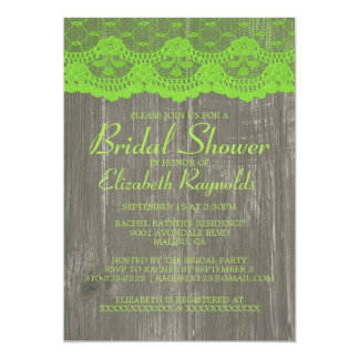 Lime Green Country Lace Bridal Shower Invitations Custom Invitation