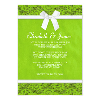 Lime Green Country Lace Wedding Invitations