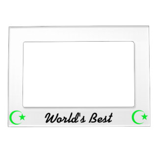 Lime Green Crescent & Star.png Magnetic Picture Frame