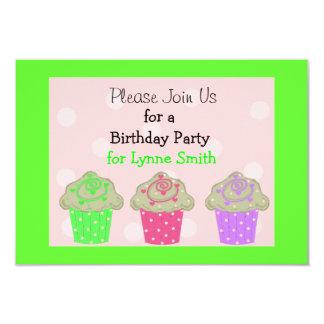 Lime Green Cupcake Birthday Party Invitation