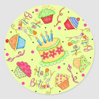 Lime Green Cupcakes and Cake Happy Birthday Classic Round Sticker