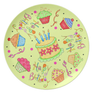 Lime Green Cupcakes and Cake Happy Birthday Dinner Plate