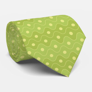 Lime Green Curved Diamond Pattern Neck Tie