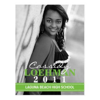 Lime Green Custom Photo Graduation Announcement Postcard