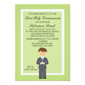Lime Green Cute First  Communion Boy Invitation