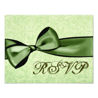 Lime Green Damask and Green Bow RSVP 4.25x5.5 Paper Invitation Card
