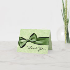 Lime Green Damask and Green Bow Thank You card