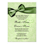 Lime Green Damask and  Green Bow Wedding Y026 5x7 Paper Invitation Card