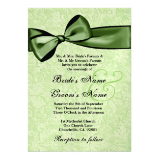 Lime Green Damask and Green Bow Wedding Y026 Custom Invitations