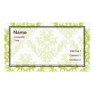Lime Green Damask Business Card