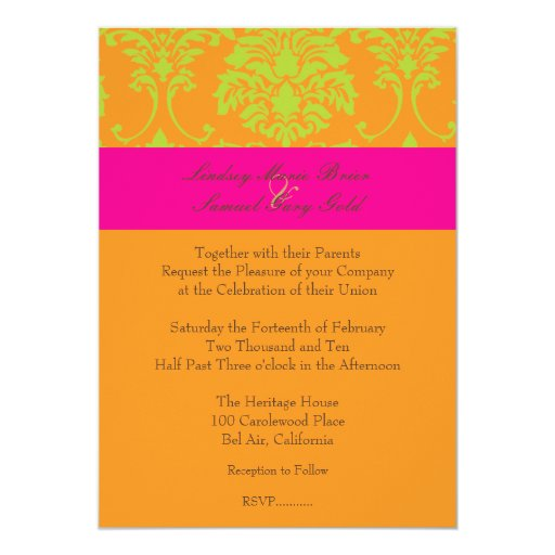 Lime Green Damask/hot pink/orange Personalized Announcement