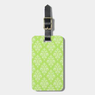Lime Green Damask Luggage Tag