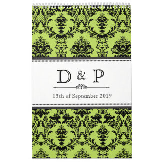 Lime Green Damask Monogram Wedding Guestbook Calendar