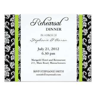 Lime Green Damask Rehearsal Dinner Card