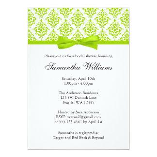 Lime Green Damask Ribbon Bow Bridal Shower Card