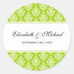 Lime Green Damask Round Wedding Favor Label Classic Round Sticker
